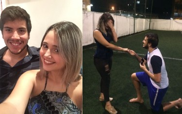 Atleta da Next Academy é pedida em casamento no campo de futebol
